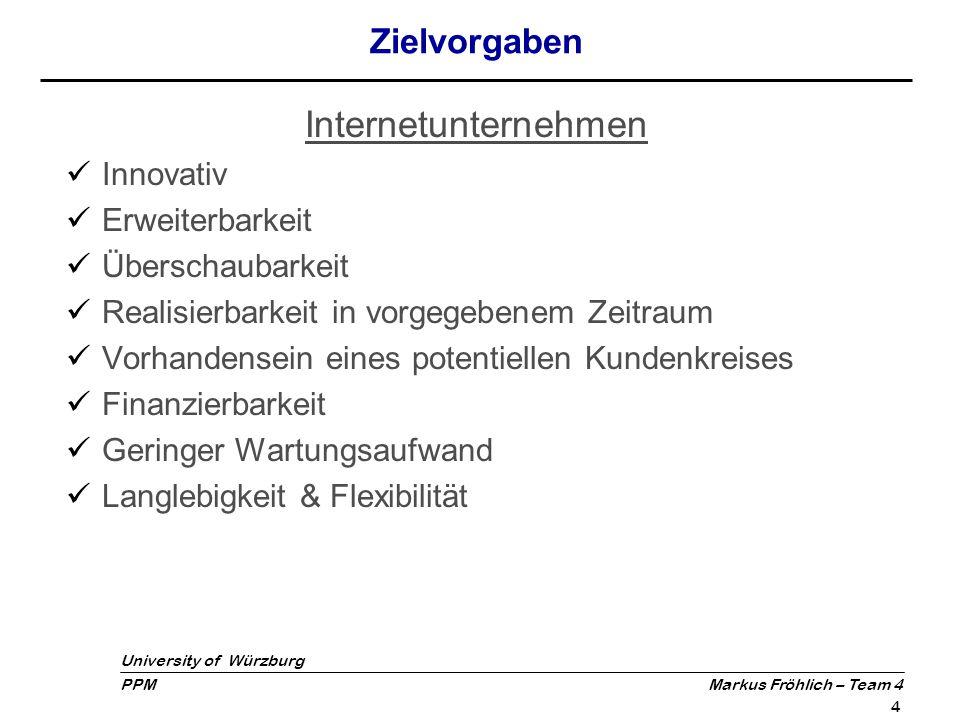University of Würzburg PPM Markus Fröhlich – Team 4 5 Themenauswahl Angebot kann nur Dienstleistung oder Plattformangebot sein Vorgeschlagene Projekte:  Tauschbörse  Suchanfragenbasierte Handelsplattform  Mitfahrservice zu Spielen der Fußball WM  IT Consulting für den Privatbereich  Ausarbeitungsservice für Dokumente (z.B.