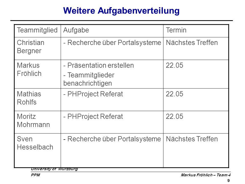 University of Würzburg PPM Markus Fröhlich – Team 4 10 Fazit Ideenfindung relativ zeitintensiv Arbeitsklima im Team durchweg positiv Großer Diskussionsbedarf durch Verschiedenheit der Vorschläge