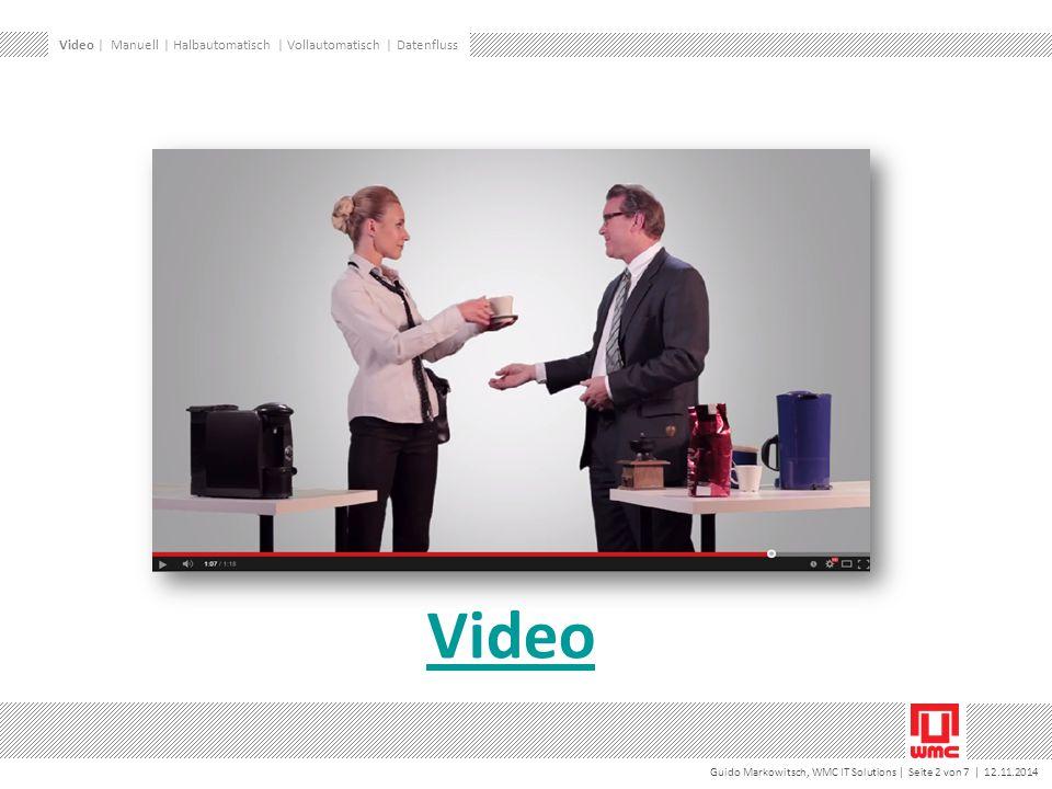 Guido Markowitsch, WMC IT Solutions | Seite 2 von 7 | 12.11.2014 Video Video | Manuell | Halbautomatisch | Vollautomatisch | Datenfluss