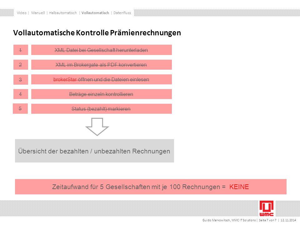 Guido Markowitsch, WMC IT Solutions | Seite 7 von 7 | 12.11.2014 Vollautomatische Kontrolle Prämienrechnungen Übersicht der bezahlten / unbezahlten Rechnungen XML Datei bei Gesellschaft herunterladen1 XML im Brokergate als PDF konvertieren 2 brokerStar öffnen und die Dateien einlesen 3 Beträge einzeln kontrollieren 4 Status (bezahlt) markieren 5 Zeitaufwand für 5 Gesellschaften mit je 100 Rechnungen = KEINE Video | Manuell | Halbautomatisch | Vollautomatisch | Datenfluss
