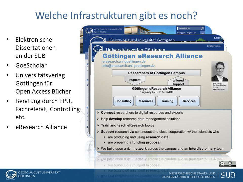 Welche Infrastrukturen gibt es noch? Elektronische Dissertationen an der SUB GoeScholar Universitätsverlag Göttingen für Open Access Bücher Beratung d