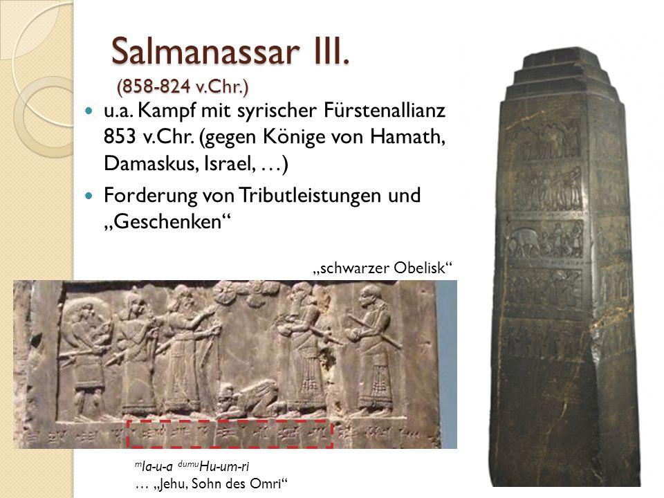 Salmanassar III. (858-824 v.Chr.) u.a. Kampf mit syrischer Fürstenallianz 853 v.Chr. (gegen Könige von Hamath, Damaskus, Israel, …) Forderung von Trib