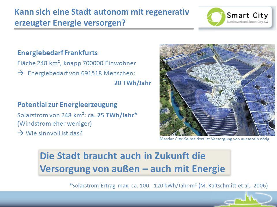 Kann sich eine Stadt autonom mit regenerativ erzeugter Energie versorgen? Energiebedarf Frankfurts Fläche 248 km², knapp 700000 Einwohner  Energiebed