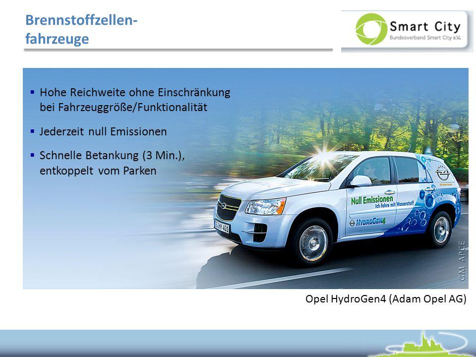Brennstoffzellen- fahrzeuge  Hohe Reichweite ohne Einschränkung bei Fahrzeuggröße/Funktionalität  Jederzeit null Emissionen  Schnelle Betankung (3 Min.), entkoppelt vom Parken Opel HydroGen4 (Adam Opel AG)