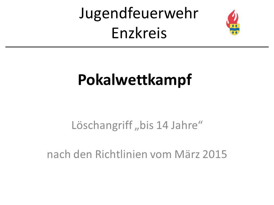 """Pokalwettkampf Löschangriff """"bis 14 Jahre"""" nach den Richtlinien vom März 2015 Jugendfeuerwehr Enzkreis"""