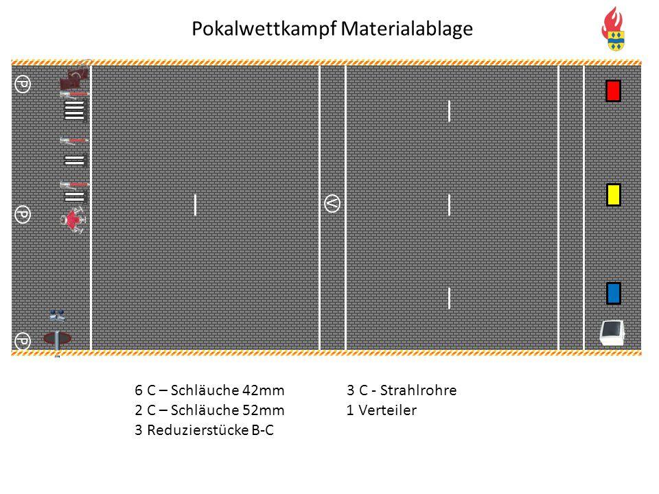 V P P P Pokalwettkampf Materialablage 6 C – Schläuche 42mm3 C - Strahlrohre 1 Verteiler2 C – Schläuche 52mm 3 Reduzierstücke B-C