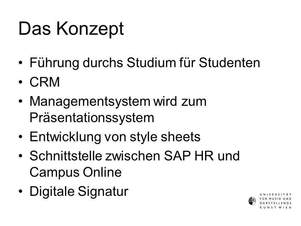 Das Konzept Führung durchs Studium für Studenten CRM Managementsystem wird zum Präsentationssystem Entwicklung von style sheets Schnittstelle zwischen SAP HR und Campus Online Digitale Signatur