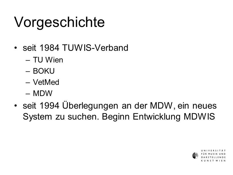 Vorgeschichte Herbst 2000 –Die 6 Kunstuniversitäten beschließen gemeinsam ein IT-System zu finden –bm:bwk wird informiert und um finanzielle Unterstützung gebeten Jänner 2001 –Ausschreibung einer Studie April 2001 –Zuschlag an CSC Austria