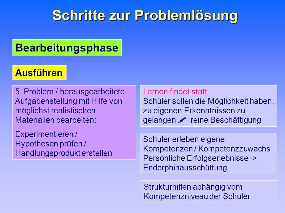 Schritte zur Problemlösung 5. Problem / herausgearbeitete Aufgabenstellung mit Hilfe von möglichst realistischen Materialien bearbeiten: Experimentier