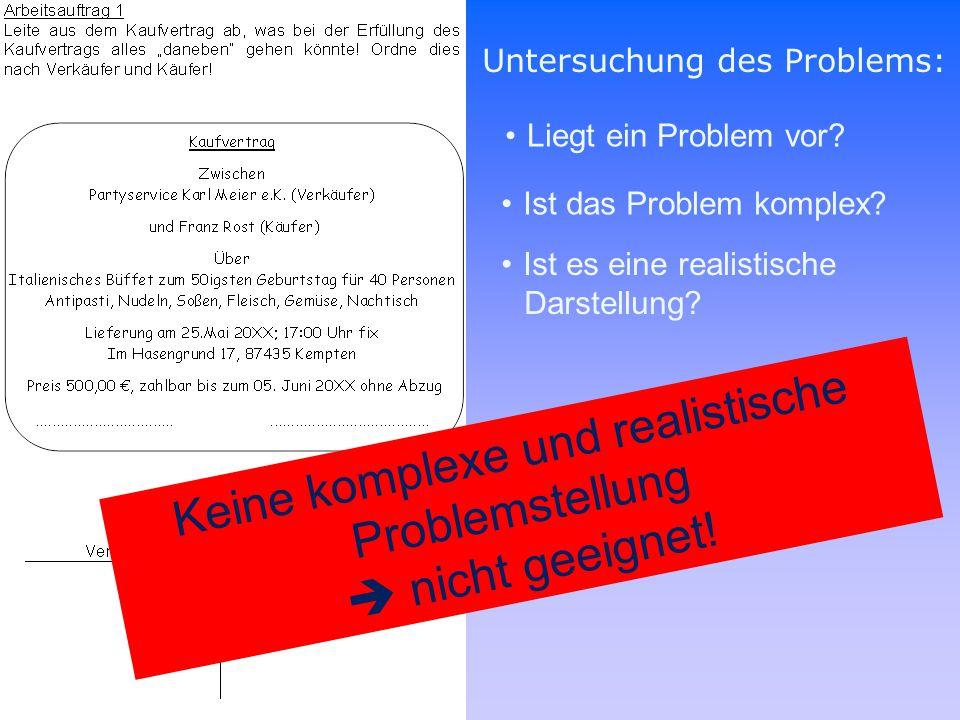 Untersuchung des Problems: Liegt ein Problem vor? Ist das Problem komplex? Ist es eine realistische Darstellung? Keine komplexe und realistische Probl