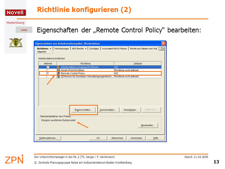 © Zentrale Planungsgruppe Netze am Kultusministerium Baden-Württemberg Musterlösung Stand: 11.04.2005 13 Der Unterrichtsmanager in der ML 2 (Th.