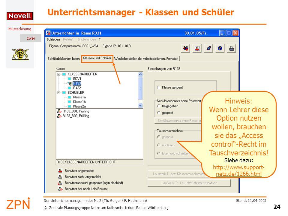 © Zentrale Planungsgruppe Netze am Kultusministerium Baden-Württemberg Musterlösung Stand: 11.04.2005 24 Der Unterrichtsmanager in der ML 2 (Th.
