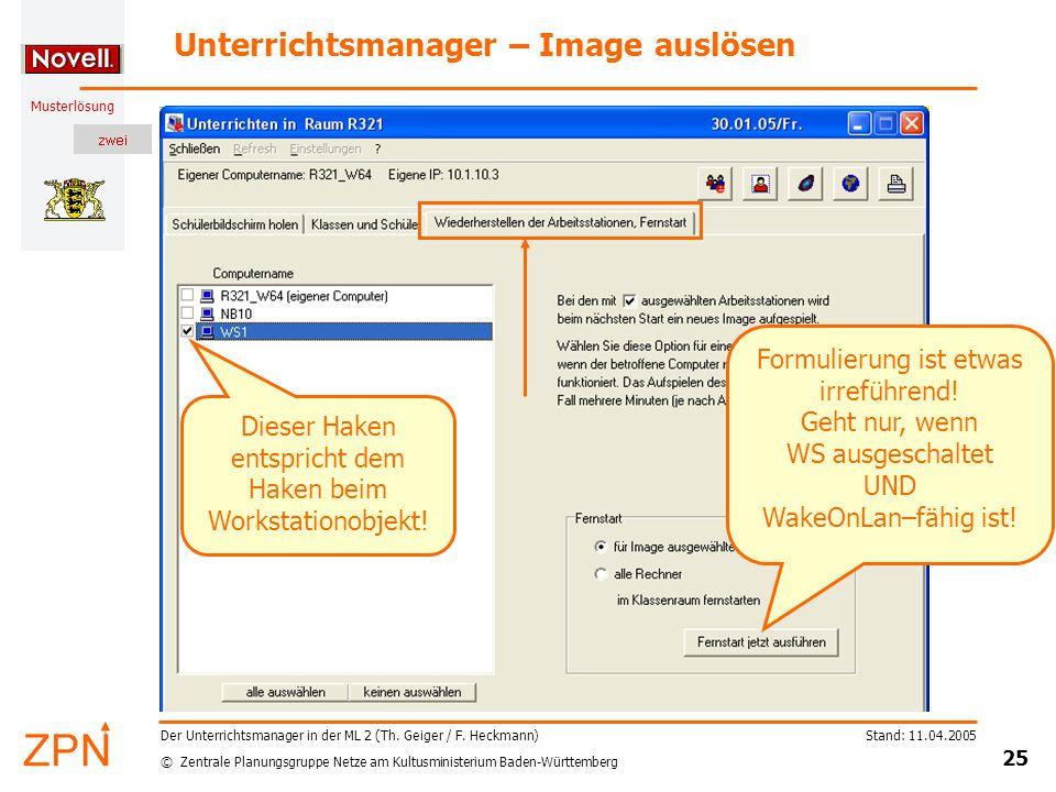 © Zentrale Planungsgruppe Netze am Kultusministerium Baden-Württemberg Musterlösung Stand: 11.04.2005 25 Der Unterrichtsmanager in der ML 2 (Th.