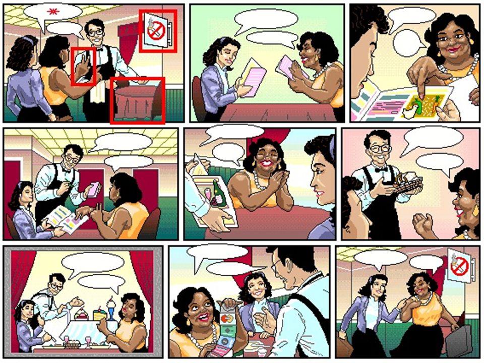 Testaufgabe.Richtig oder falsch. 1. Zwei Personen kommen in ein Restaurant.