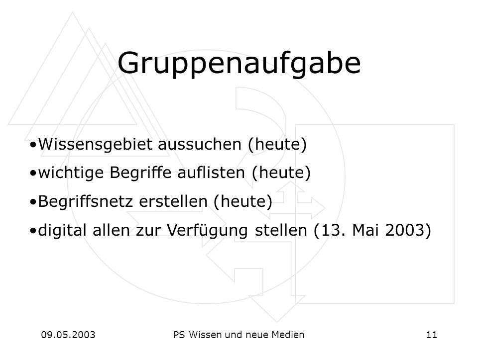 09.05.2003PS Wissen und neue Medien11 Gruppenaufgabe Wissensgebiet aussuchen (heute) wichtige Begriffe auflisten (heute) Begriffsnetz erstellen (heute) digital allen zur Verfügung stellen (13.
