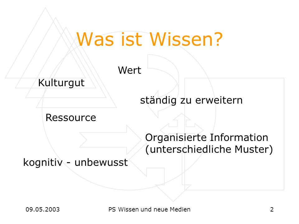 09.05.2003PS Wissen und neue Medien2 Was ist Wissen? Kulturgut Ressource kognitiv - unbewusst ständig zu erweitern Organisierte Information (unterschi
