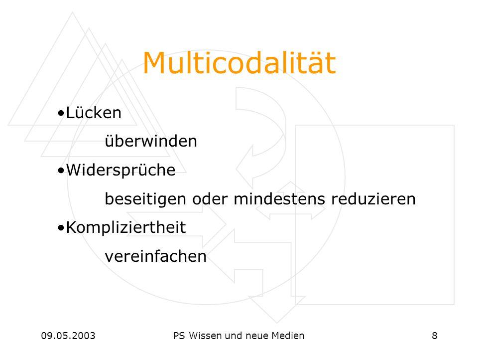 09.05.2003PS Wissen und neue Medien8 Multicodalität Lücken überwinden Widersprüche beseitigen oder mindestens reduzieren Kompliziertheit vereinfachen