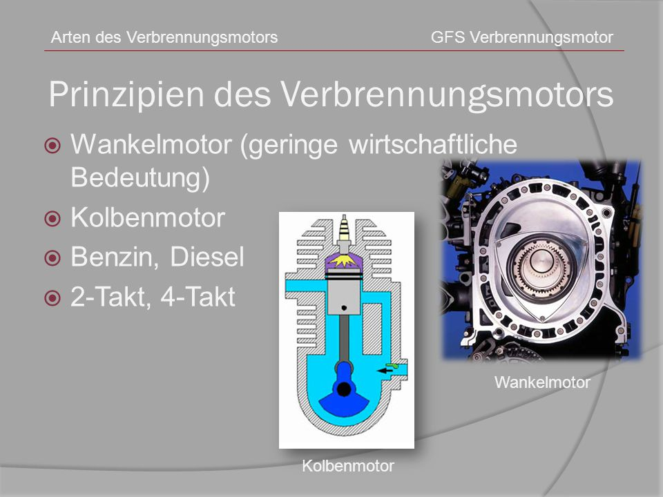 Prinzipien des Verbrennungsmotors  Wankelmotor (geringe wirtschaftliche Bedeutung)  Kolbenmotor  Benzin, Diesel  2-Takt, 4-Takt Arten des Verbrenn