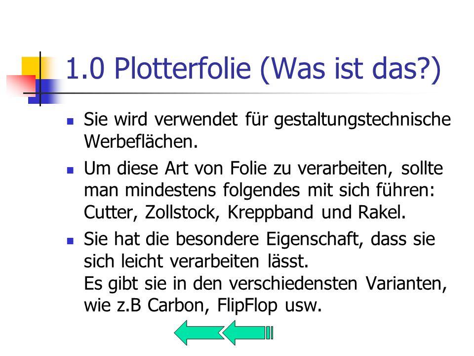 1.0 Plotterfolie (Was ist das ) Sie wird verwendet für gestaltungstechnische Werbeflächen.