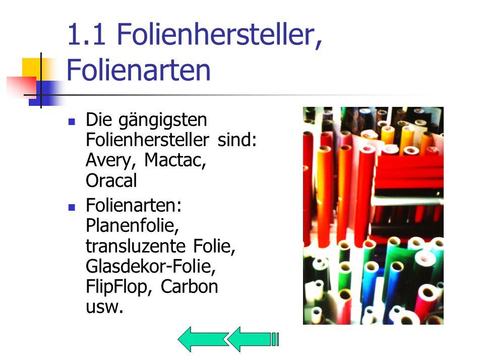 1.1 Folienhersteller, Folienarten Die gängigsten Folienhersteller sind: Avery, Mactac, Oracal Folienarten: Planenfolie, transluzente Folie, Glasdekor-Folie, FlipFlop, Carbon usw.