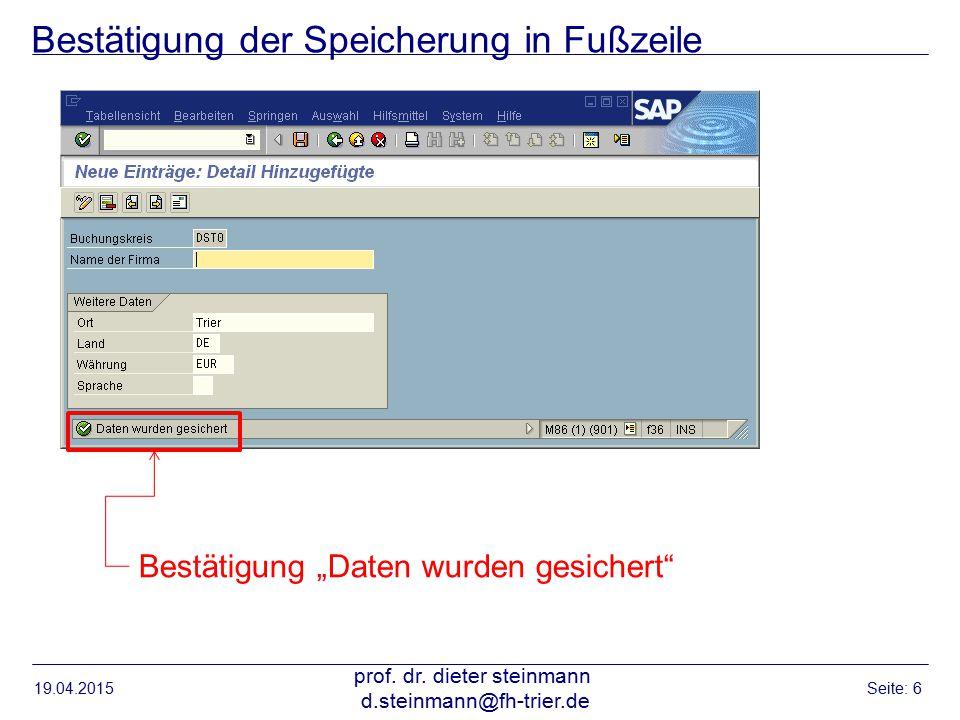 Bestätigung der Speicherung in Fußzeile 19.04.2015 prof.