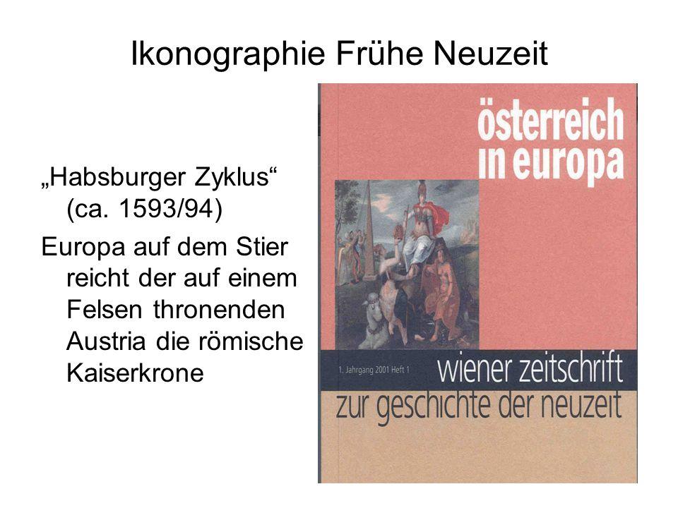 """Ikonographie Frühe Neuzeit """"Habsburger Zyklus"""" (ca. 1593/94) Europa auf dem Stier reicht der auf einem Felsen thronenden Austria die römische Kaiserkr"""