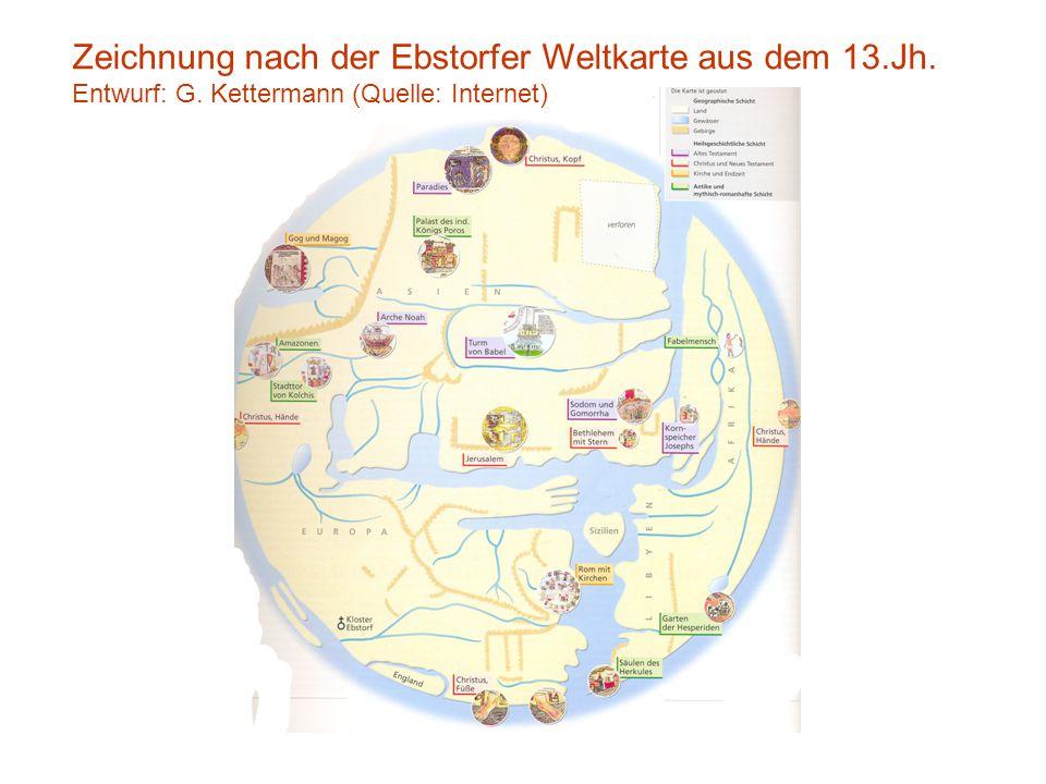Zeichnung nach der Ebstorfer Weltkarte aus dem 13.Jh. Entwurf: G. Kettermann (Quelle: Internet)