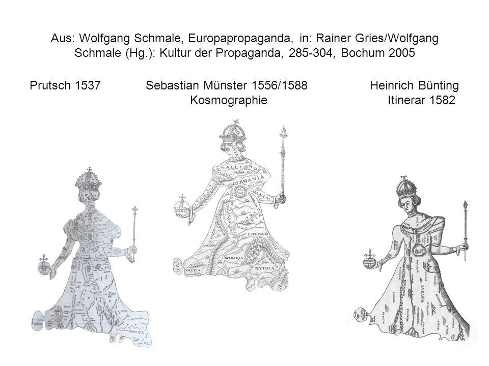 Prutsch 1537 Sebastian Münster 1556/1588 Heinrich Bünting Kosmographie Itinerar 1582 Aus: Wolfgang Schmale, Europapropaganda, in: Rainer Gries/Wolfgan