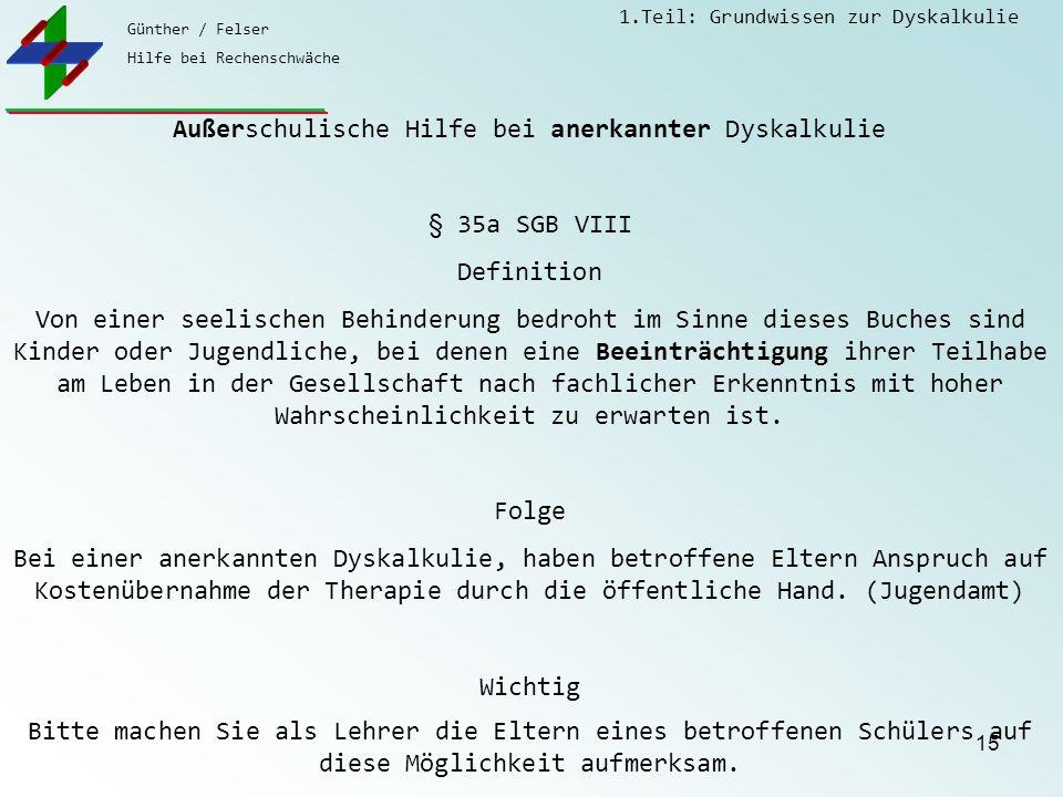 Günther / Felser Hilfe bei Rechenschwäche 1.Teil: Grundwissen zur Dyskalkulie 15 Außerschulische Hilfe bei anerkannter Dyskalkulie § 35a SGB VIII Defi