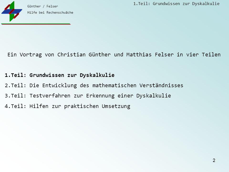 Günther / Felser Hilfe bei Rechenschwäche 1.Teil: Grundwissen zur Dyskalkulie 2 Ein Vortrag von Christian Günther und Matthias Felser in vier Teilen 1