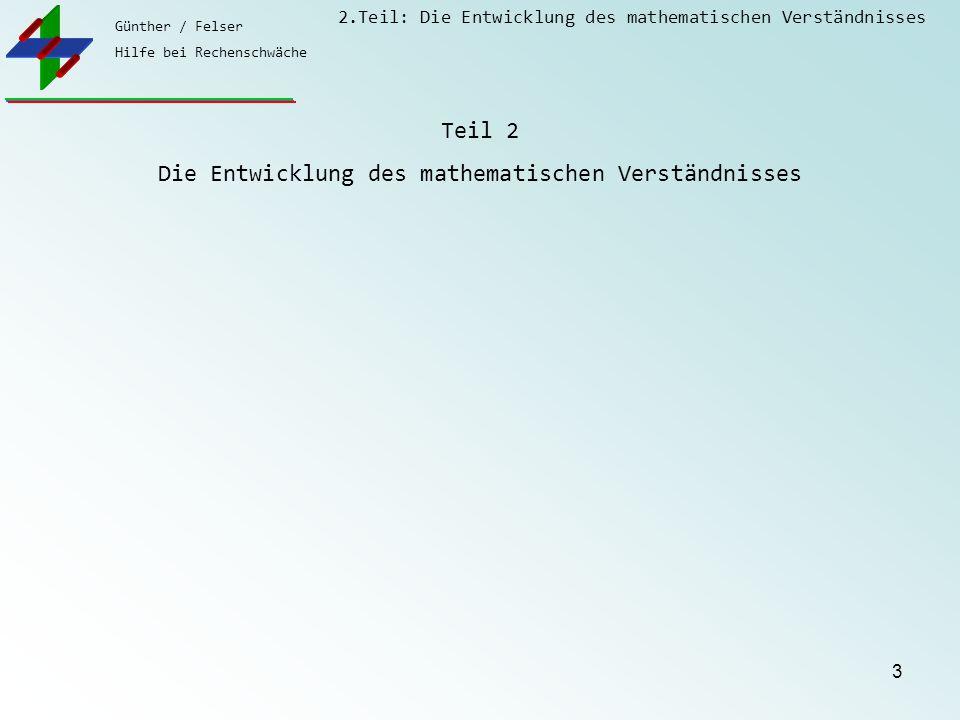 Günther / Felser Hilfe bei Rechenschwäche 2.Teil: Die Entwicklung des mathematischen Verständnisses 4 Mythen zur Dyskalkulie Das Kind krabbelte nicht.