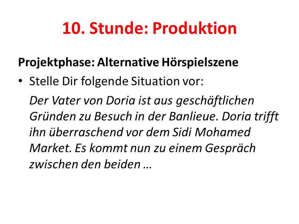 10. Stunde: Produktion Projektphase: Alternative Hörspielszene Stelle Dir folgende Situation vor: Der Vater von Doria ist aus geschäftlichen Gründen z