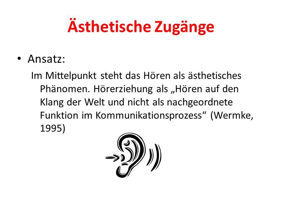 """Ästhetische Zugänge Ansatz: Im Mittelpunkt steht das Hören als ästhetisches Phänomen. Hörerziehung als """"Hören auf den Klang der Welt und nicht als nac"""