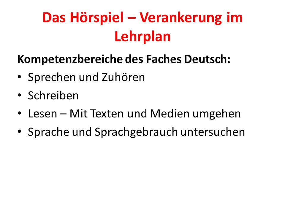 Das Hörspiel – Verankerung im Lehrplan Kompetenzbereiche des Faches Deutsch: Sprechen und Zuhören Schreiben Lesen – Mit Texten und Medien umgehen Spra