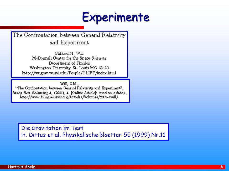 Hartmut Abele 6 Experimente Die Gravitation im Test H.