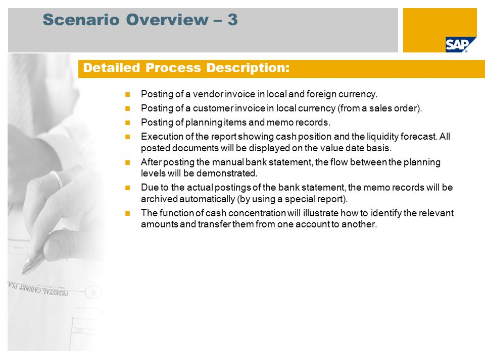 Scenario Overview – 3 Posting of a vendor invoice in local and foreign currency.