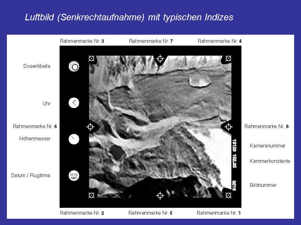 Luftbild (Senkrechtaufnahme) mit typischen Indizes