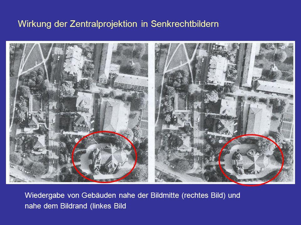 Wiedergabe von Gebäuden nahe der Bildmitte (rechtes Bild) und nahe dem Bildrand (linkes Bild Wirkung der Zentralprojektion in Senkrechtbildern