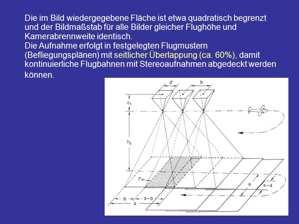 Die im Bild wiedergegebene Fläche ist etwa quadratisch begrenzt und der Bildmaßstab für alle Bilder gleicher Flughöhe und Kamerabrennweite identisch.