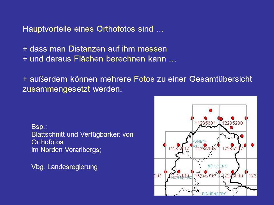 Hauptvorteile eines Orthofotos sind … + dass man Distanzen auf ihm messen + und daraus Flächen berechnen kann … + außerdem können mehrere Fotos zu ein