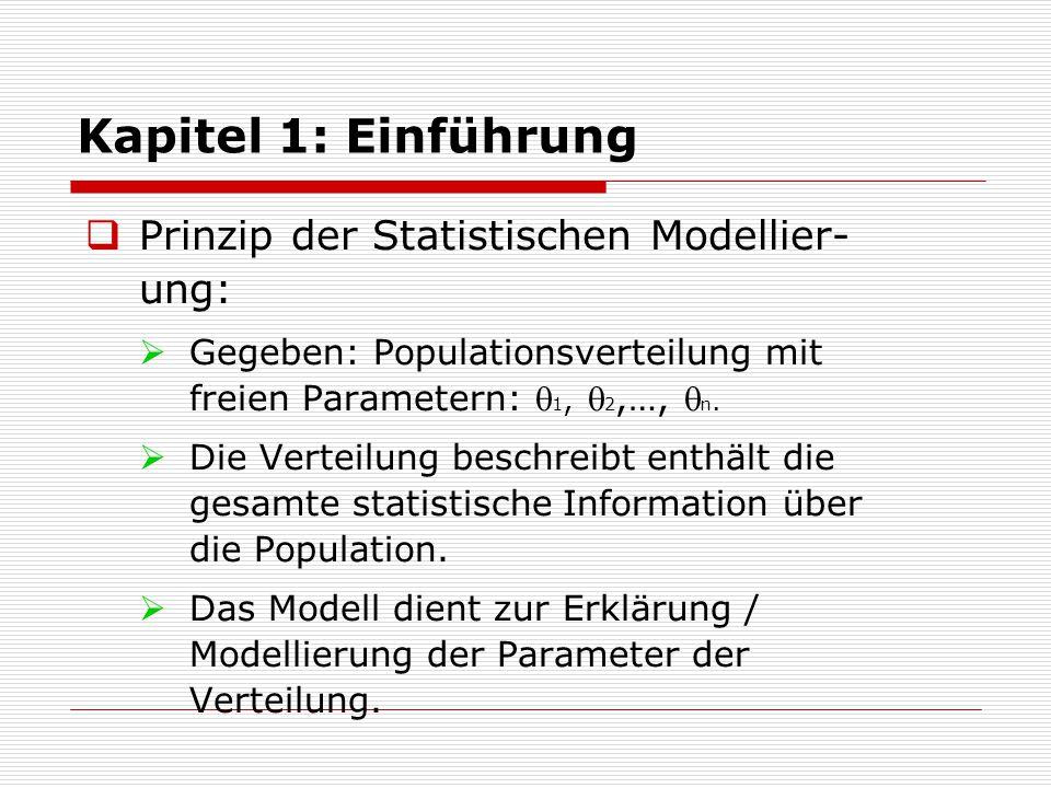 Kapitel 1: Einführung  Prinzip der Statistischen Modellier- ung:  theta sind Parameter der Verteilung  xsi Modellparameter: m  n