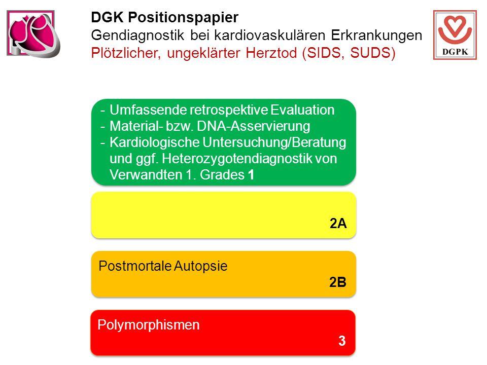 DGK Positionspapier Gendiagnostik bei kardiovaskulären Erkrankungen Plötzlicher, ungeklärter Herztod (SIDS, SUDS) -Umfassende retrospektive Evaluation