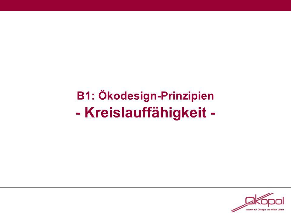 B1: Ökodesign-Prinzipien - Kreislauffähigkeit -