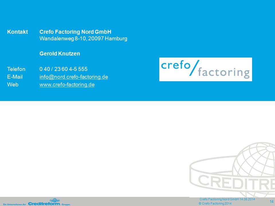 Crefo Factoring Nord GmbH 14.05.2014 14 © Crefo Factoring 2014 KontaktCrefo Factoring Nord GmbH Wandalenweg 8-10, 20097 Hamburg Gerold Knutzen Telefon