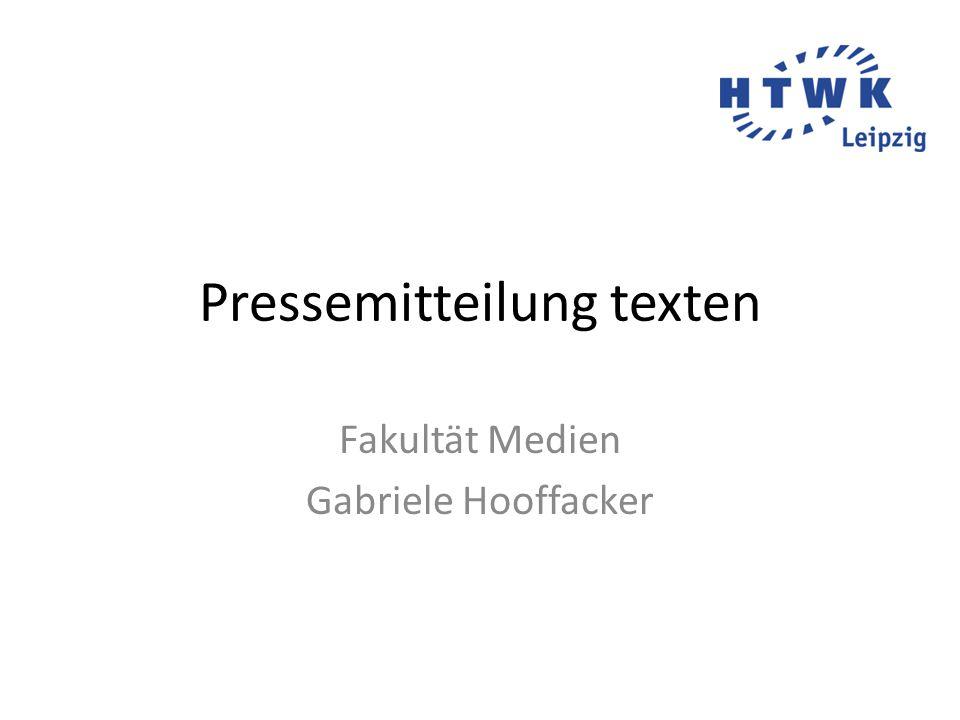 Pressemitteilung texten Fakultät Medien Gabriele Hooffacker
