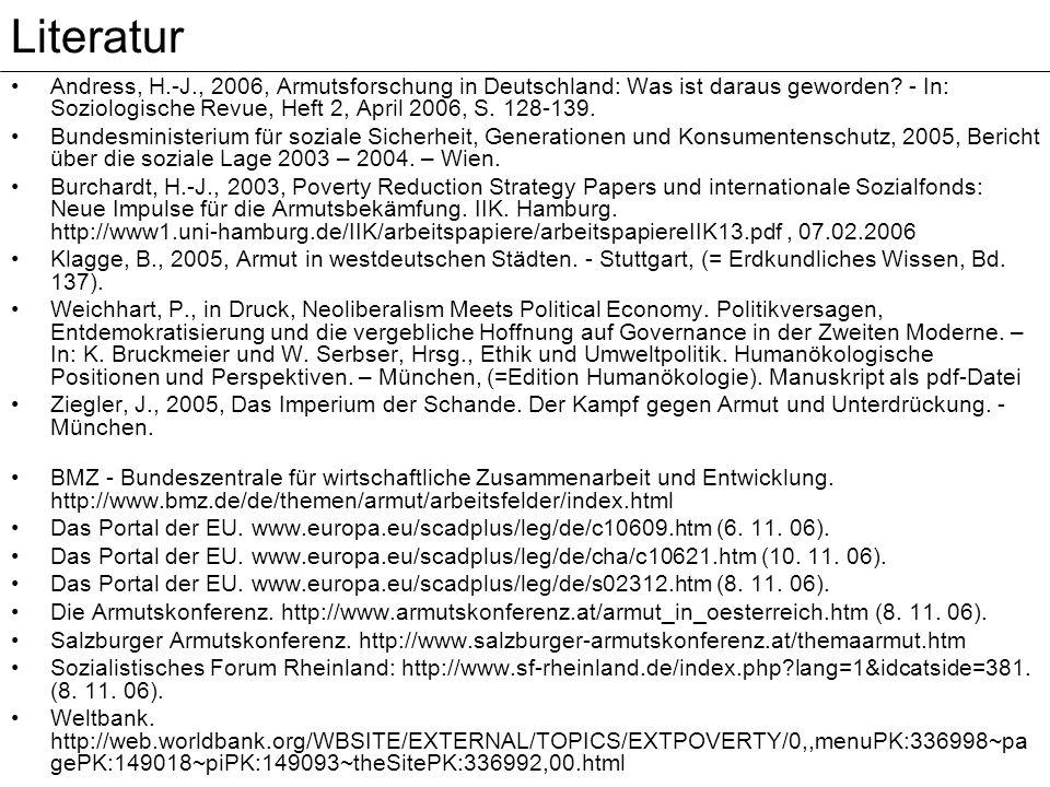 Andress, H.-J., 2006, Armutsforschung in Deutschland: Was ist daraus geworden? - In: Soziologische Revue, Heft 2, April 2006, S. 128-139. Bundesminist