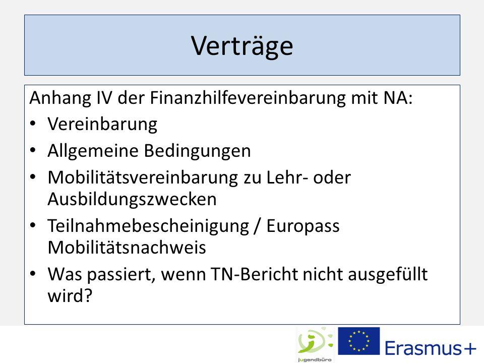 Verträge Anhang IV der Finanzhilfevereinbarung mit NA: Vereinbarung Allgemeine Bedingungen Mobilitätsvereinbarung zu Lehr- oder Ausbildungszwecken Teilnahmebescheinigung / Europass Mobilitätsnachweis Was passiert, wenn TN-Bericht nicht ausgefüllt wird?