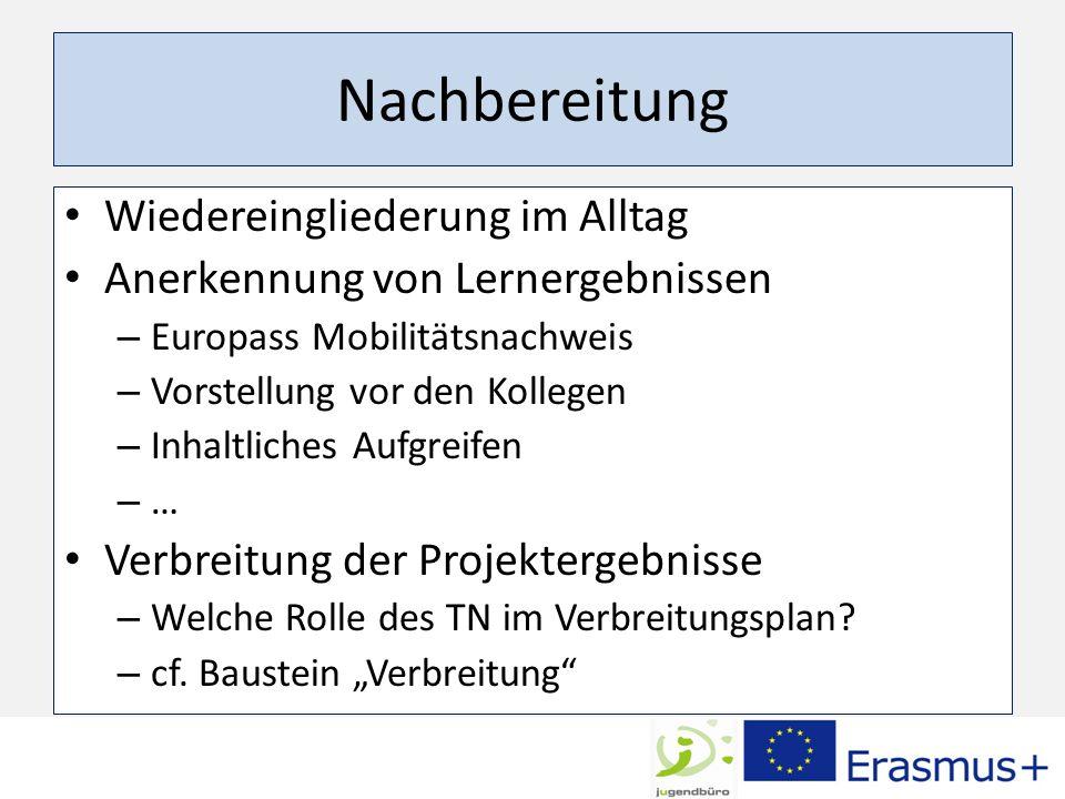 Nachbereitung Wiedereingliederung im Alltag Anerkennung von Lernergebnissen – Europass Mobilitätsnachweis – Vorstellung vor den Kollegen – Inhaltliches Aufgreifen – … Verbreitung der Projektergebnisse – Welche Rolle des TN im Verbreitungsplan.