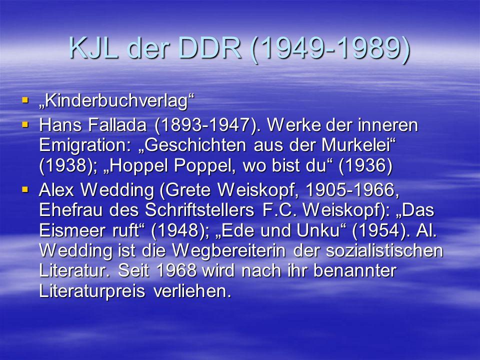 "KJL der DDR (1949-1989)  ""Kinderbuchverlag""  Hans Fallada (1893-1947). Werke der inneren Emigration: ""Geschichten aus der Murkelei"" (1938); ""Hoppel"