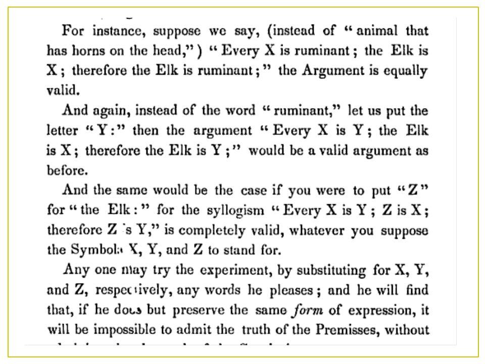  In der Logik geht es darum, gültige Argumente allein anhand der Form zu erkennen.